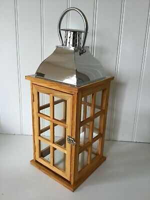 NEW EXTRA LARGE VINTAGE STYLE WOODEN LANTERN CANDLE HOLDER HOME OR GARDEN 47cm