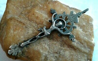 RARE ANTIQUE LARGE GOTHIC-STYLE CATHOLIC SILVER OPENWORK CRUCIFIX c.18th CENTURY