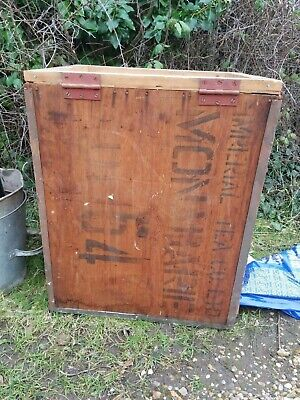 Vintage wooden tea chest with hinged lid