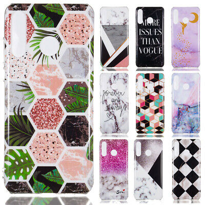 For Huawei P30 Pro/Honor 8X 8C Marble Painted Soft Silicone TPU Skin Case Cover