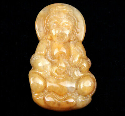 Yellow Jade Carved Pendant Seated Kwan-Yin Mercy Buddha Holds Bottle #05061907R