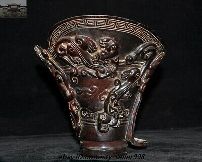 """6"""" Rare Old Chinese Ox horn Carved Dragon Beast goblet wineglass Wine cup Statue"""
