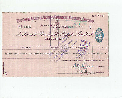 National  Provincial  Bank  Cheque  1938