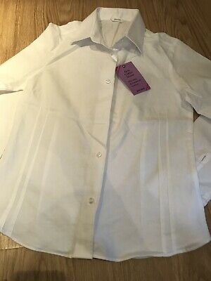 Girls White School Blouse Age 11 John Lewis Fitted Cotton Collar BNWT
