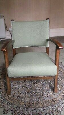 Antique Atcraft Productions Green Upholstered Nursery Armchair Chair c.1930s