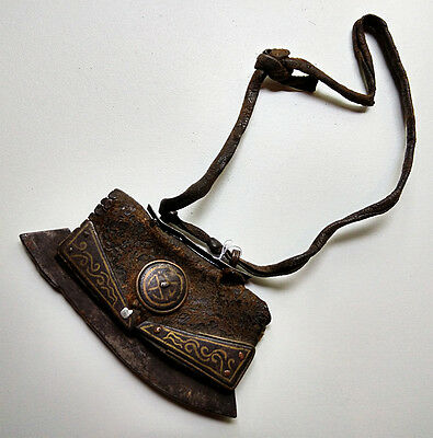Antique Lighter Tibetan Leather Yak Iron & Brass Tibet