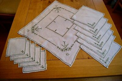 VINTAGE LINEN LEFKARA EMBROIDERED TABLE SET Tablecentre Placemats Coasters #20