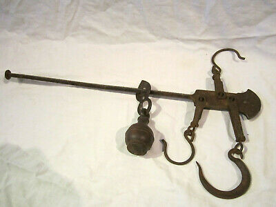 Antique Hanging Dual Meat Scale Triple hooked Cast Iron ~1800