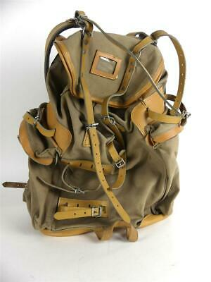 alter Vintage SAC LA FUMA Made in France Bergsteiger Rucksack Leinen / Leder Mix