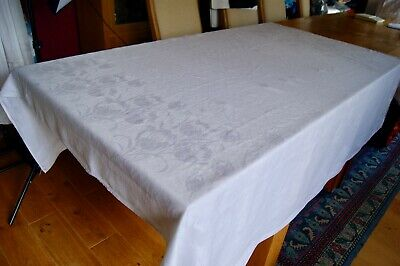 "ANTIQUE WHITE IRISH DAMASK LINEN TABLECLOTH Tulip Flowers 70"" Square #T115"