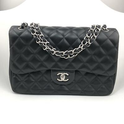 f55724e8d467 CHANEL Quilted Jumbo Double Flap Classic Handbag Black Lambskin Silver