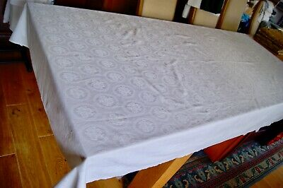 "VINTAGE DAMASK COTTON LINEN TABLECLOTH Oval Framed Flowers 91"" x 51"" #T47"