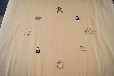 ANTIQUE YELLOW IRISH LINEN BEDSPREAD Hand Embroidered Animals Dated 1915