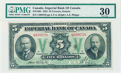 Imperial Bank Of Canada 5 Dollars 1923 3751804 U699728 - Pmg Very Fine 30