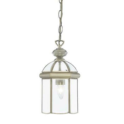 Searchlight Antique Brass Domed Hanging Lantern E27 with Glass Adjustable 7131AB