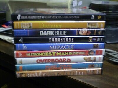 (10) Kurt Russell DVD Lot: Overboard Tombstone Disney Miracle Executive Decision