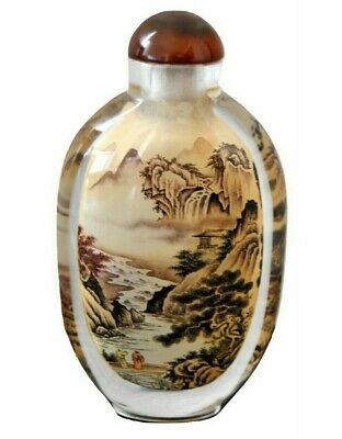 Vintage Chinese Snuff Bottle Inside-Painted Glass Zhongkui