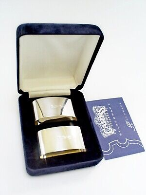 1996 BOXED PAIR CARRS OF SHEFFIELD HM STERLING SILVER OVAL NAPKIN RINGS 67.3 g