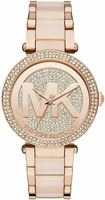 Michael Kors MK6176 Parker Rose Gold Blush Pave Crystal Logo Women's Watch