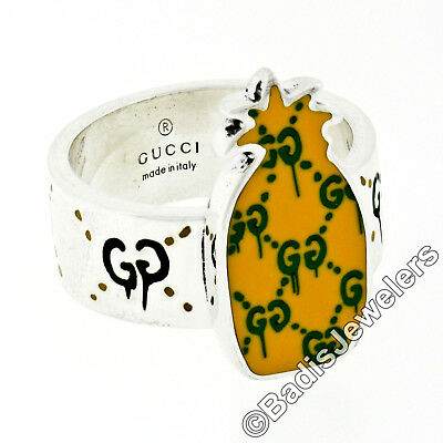 506f56677 Gucci Sterling Silver Ghost Yellow & Green Enamel Pineapple Ring 476815  J89L0
