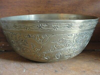 Antique Circa early 1900's Etched Chinese Brass Bowl
