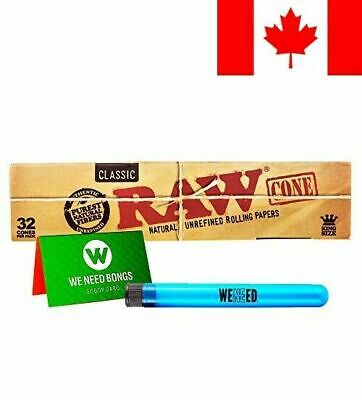 RAW Classic Natural Unrefined King Size Pre-Rolled Paper Cones 32 Pack. Inclu...
