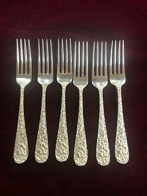 Kirk & Son Sterling Silver Steiff Rose lunch/ dinner Forks set of 6 108632 C