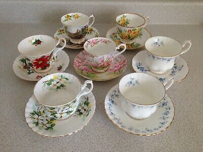 Lot Of 7 Various Royal Albert Fine Bone China Tea Cups And Saucers