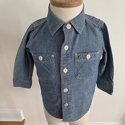 Baby Gap Boy Long Sleeve Button Down Shirt Size 12-18 Months Denim Chambray EUC