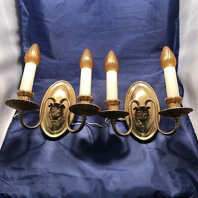 Pair of antique double candle yellow brass sconces with original patina 79C