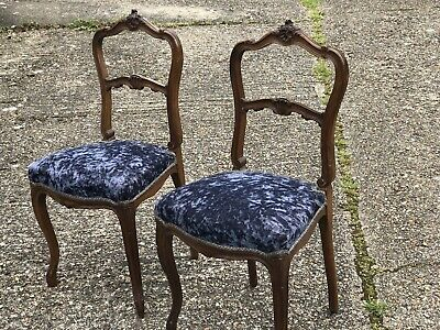 Pair Of Pretty Louis Style French Chairs Carved