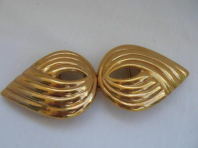 vtg 1980s MIMIDIN MIMI DIN DI N Chunky Gold Tone Belt Buckle for leather / scarf