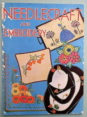 NEEDLECRAFT AND EMBROIDERY original vintage 1930s book PEARSON'S Crinoline Lady