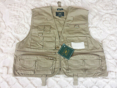 Crystal River Mens M Khaki Fly Fishing 17 pocket Vest Photography Hiking  NWT