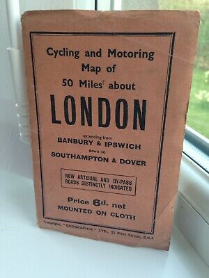 """Vintage """"Geographia"""" Cycling & Motoring Map of 50 Miles about London - 1930s?"""