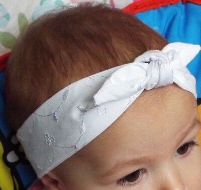 White Embroidered Broderie Anglaise Headwrap Headband Knot Hair Bow Baby Girls