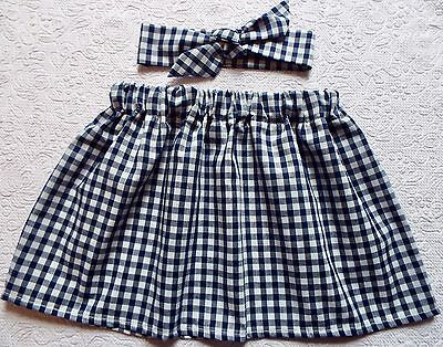 Navy Blue Gingham Check Skirt And Headwrap Or Hair Bow Set  School Uniform New