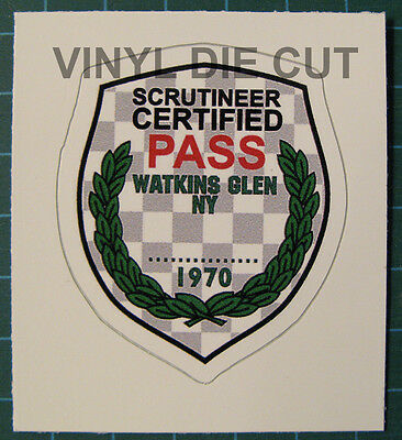 "Watkins Glen 1970 Scrutineer Pass Vinyl Sticker Decal 2 3/16"" x 1 7/8"" - SCCA"