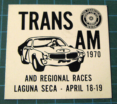 SCCA Dash Plaque Trans Am 1970 Laguna Seca and regional races - Vintage Original