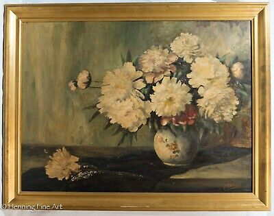 Beautiful Large Still Life Floral Oil Painting Signed & Framed, White Flowers!