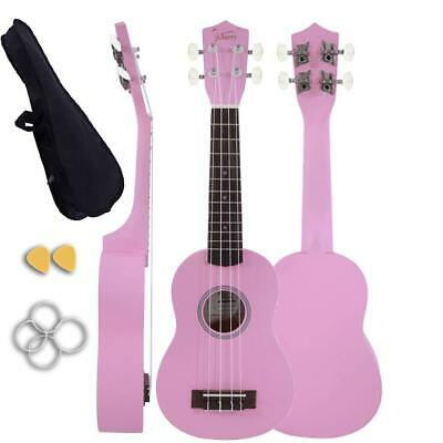 "Glarry 21"" Soprano Basswood Ukulele Student 4 Strings Uke with Gig Bag Gift Pink"
