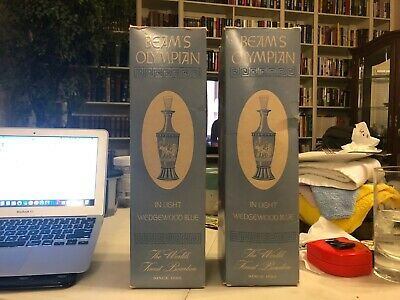 Lot of 2 (two) Vintage 1960s Jim BEAM Olympia Liquor Decanter in Wedgewood Blue