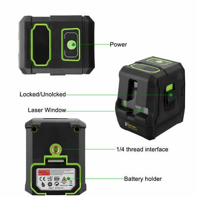 Portable Green Self-Leveling Laser 2 Line 360°Rotary Vertical Horizontal Measure