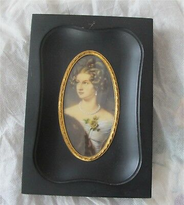 1880's ANTIQUE ENGLISH MINIATURE PAINTING NOBLE LADY SIGNED HAN...?