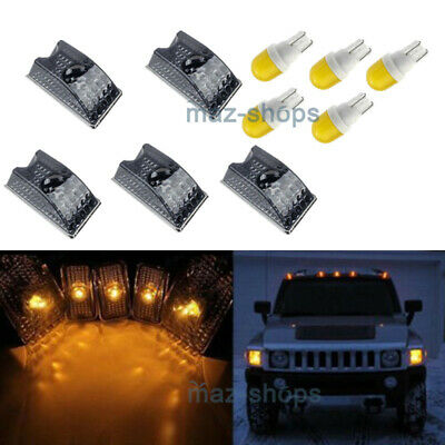 5x Smoke Roof Clearance Top Marker Light+Amber Ceramics LED for 03-09 Hummer H2