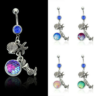 Punk Women Steel Mermaid Scale Bar Belly Button Ring Crystal Navel Jewelry Beach