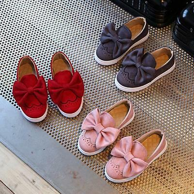 Girl Bowknot Suede Slip On Shoes Princess casual School Comfort Flat Moccasin LD