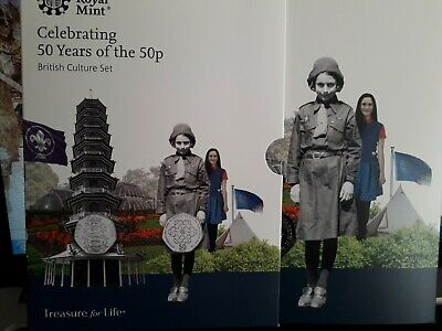 2019 50 Years of the 50p Uncirculated BUNC Kew Gardens Fifty Pence 5 Coin Set