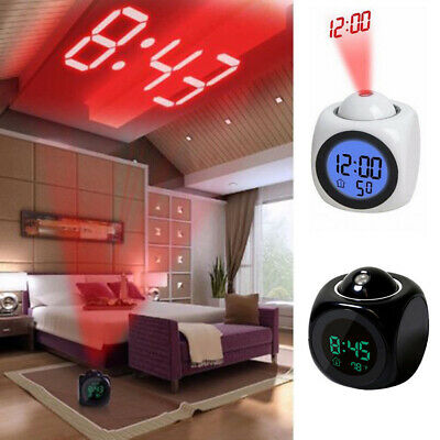 LED Alarm Clock Wall Ceiling Projection LCD Digital Voice Talking Temperature