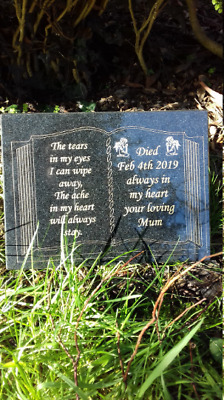Large Engraved Bible Personalised Black Granite Memorial Grave Plaque Stone
